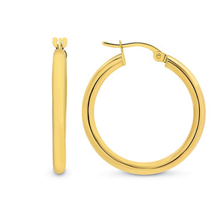 9ct Yellow Gold Plain 20mm Hoop Earrings