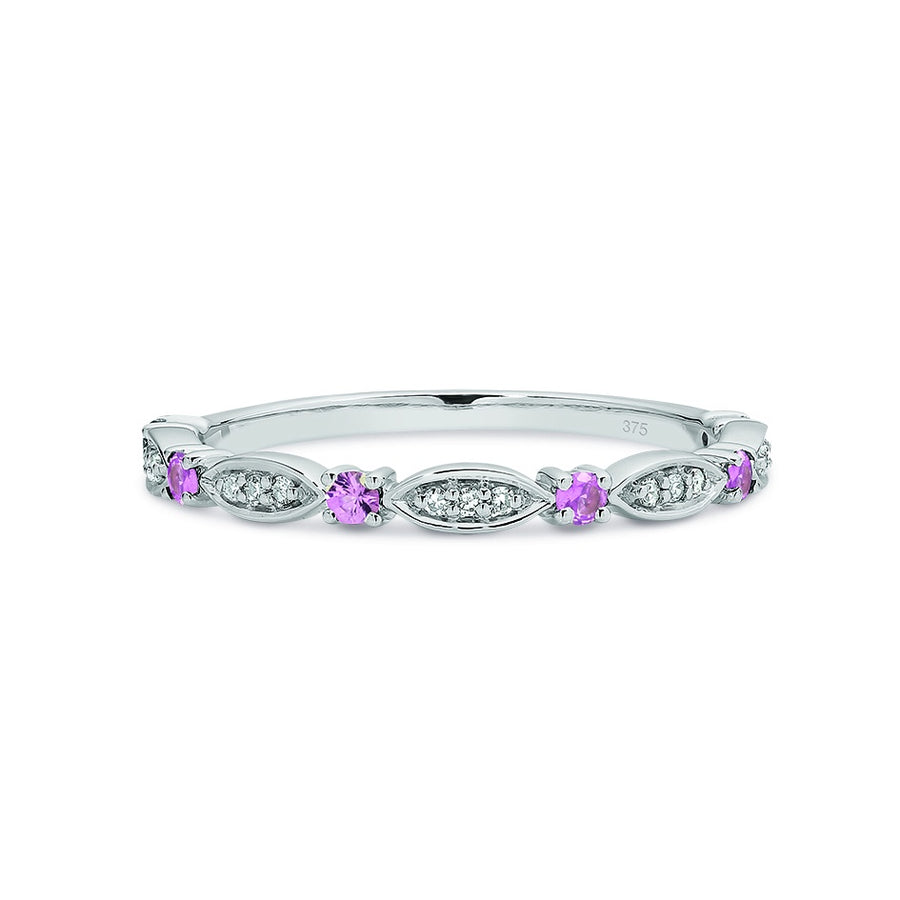 9ct White Gold Pink Sapphire & Diamond Stacker Ring Size P