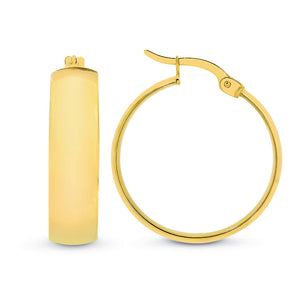 9ct Yellow Gold/Silver Filled Wide Hoop Earrings