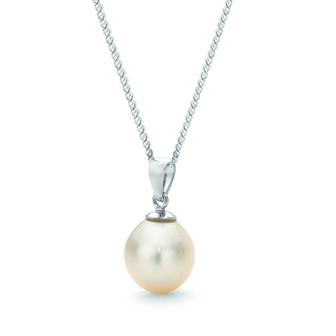 Ikecho Sterling Silver White 9-9.5mm Drop Freshwater Pearl Pendant with Sterling Silver Chain
