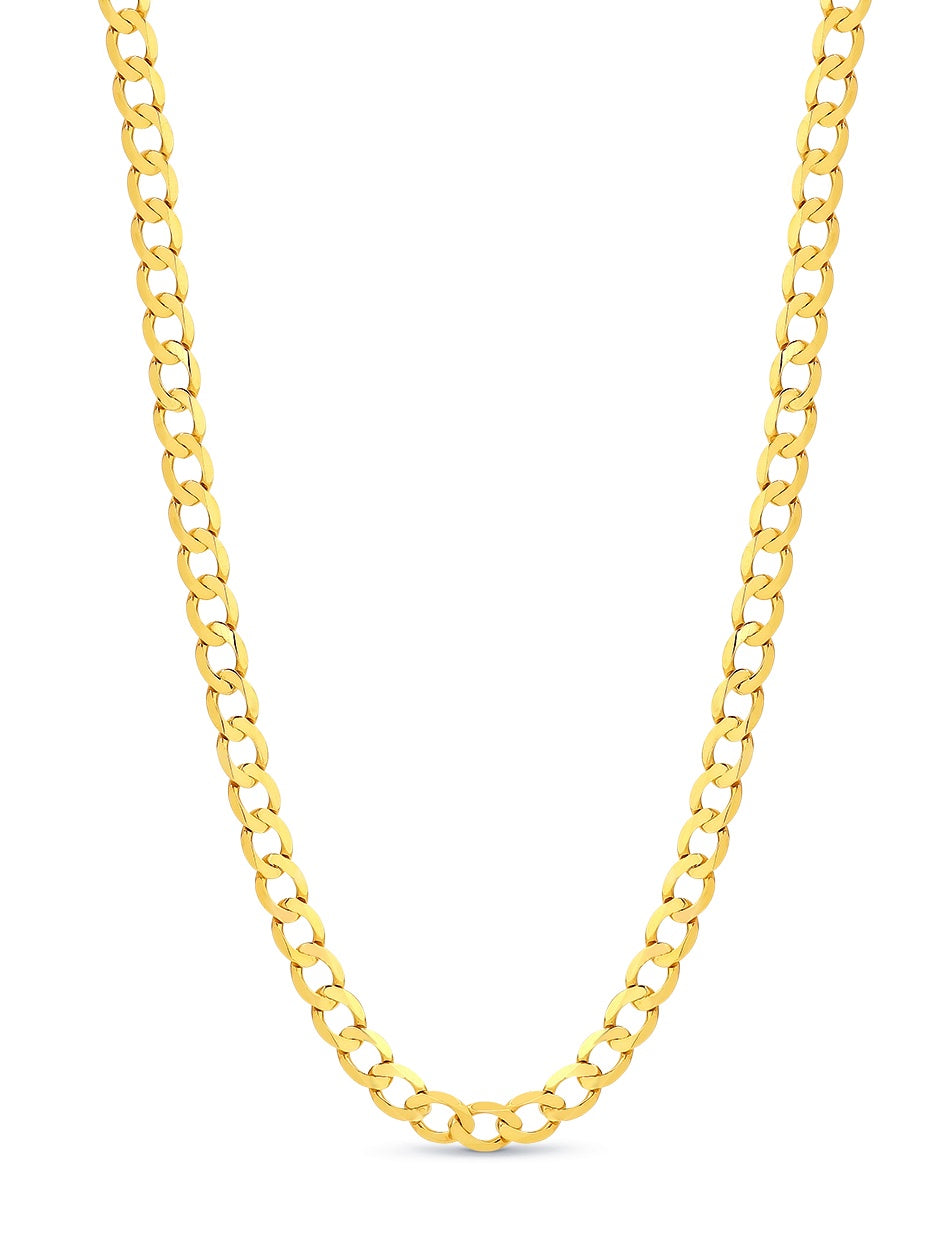9ct Yellow Gold Diamond Cut Oval Curb Necklace 50cm