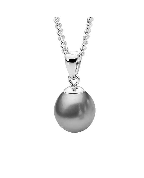 Sterling Silver Dyed Grey Freshwater Pearl Pendant