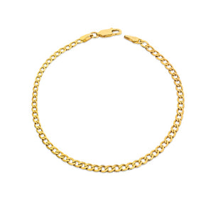 9ct Yellow Gold Diamond Cut Oval Curb Bracelet 21cm