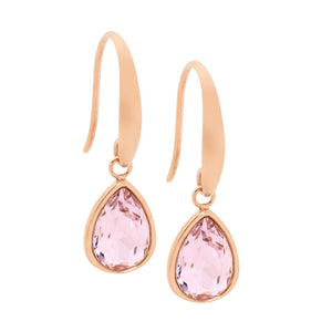 Stainless Steel Rose Plated Tear Drop Pink Glass Earrings