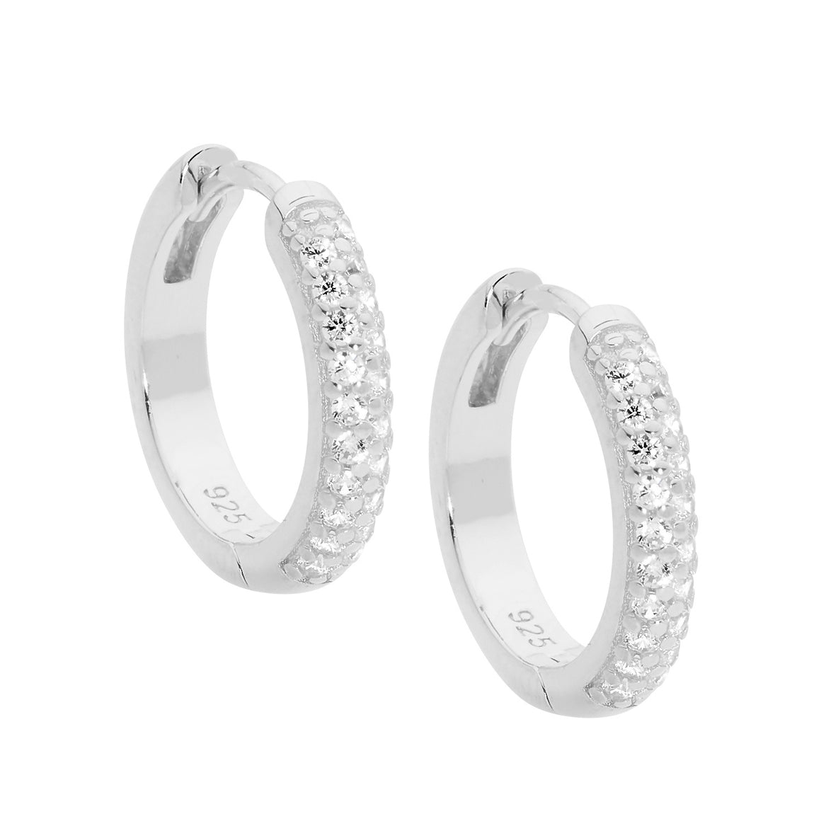 Sterling Silver White CZ Pave Set 16mm Hoop Earrings