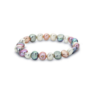 Multi-coloured Elastic Freshwater Pearl Bracelet White/Grey/Pink Keshi Pearls