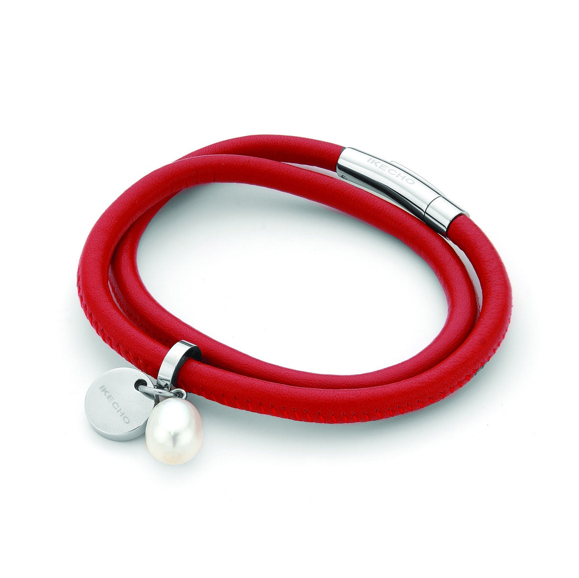 Ikecho Red Leather Sterling Silver Bracelet with White Freshwater Pearl Drop 9-9.5mm with Branded Tag