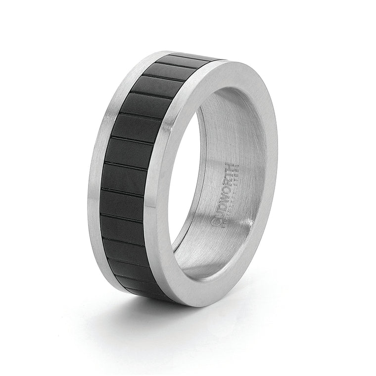 Mens Stainless Steel /Ip Black Ring