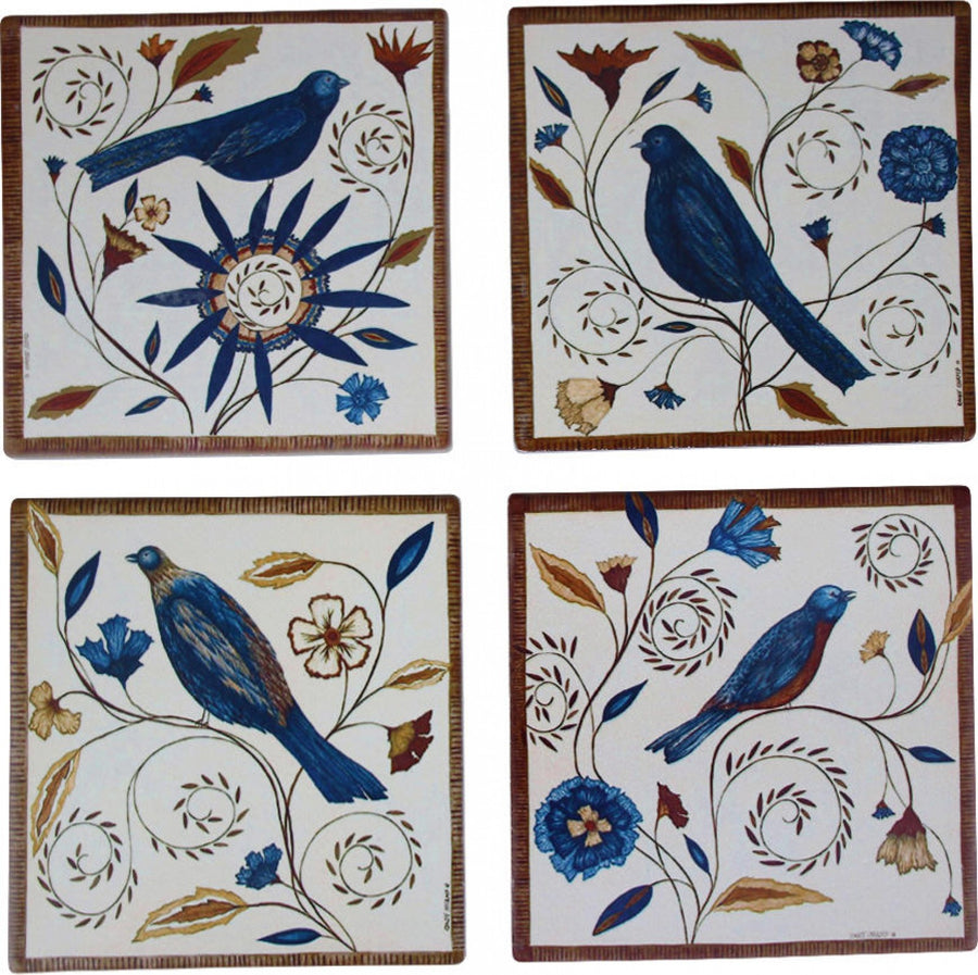 Birds Pattern Coasters Set of 4