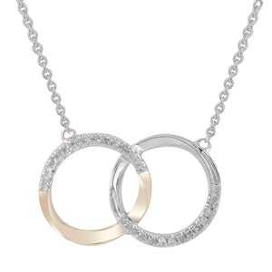 9ct Yellow and White Gold Diamond Necklace TDW 0.10ct