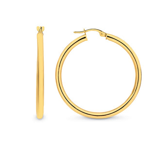9ct Yellow Gold Plain 30mm Hoop Earrings