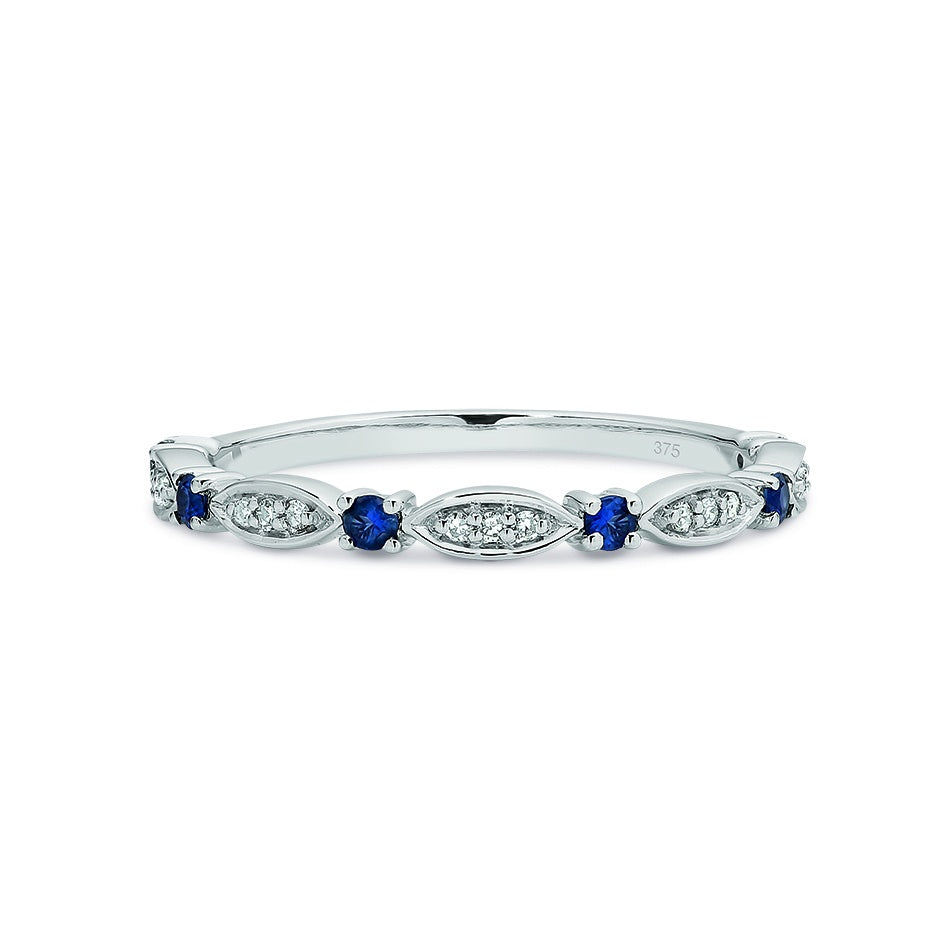 9ct White Gold Sapphire & Diamond Stacker Ring Size N