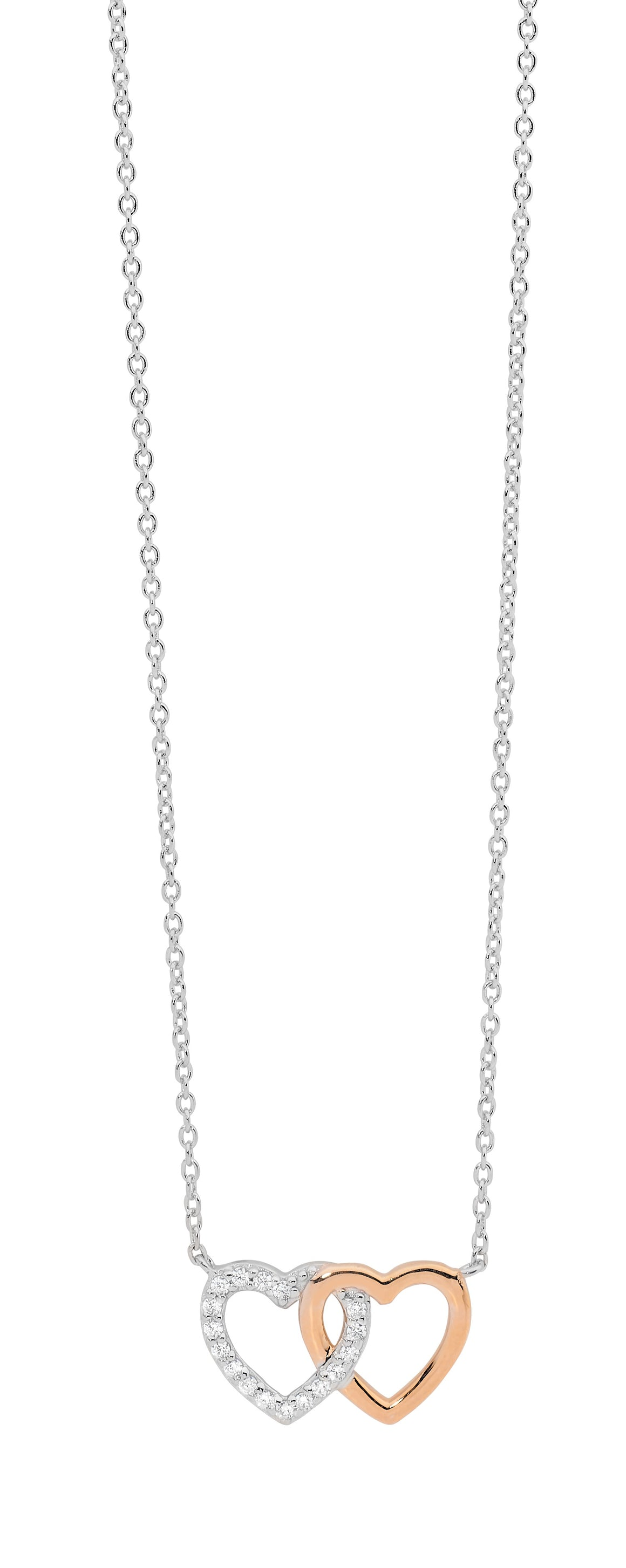 Sterling Silver Rose Plated White CZ Double Linked Heart Necklace