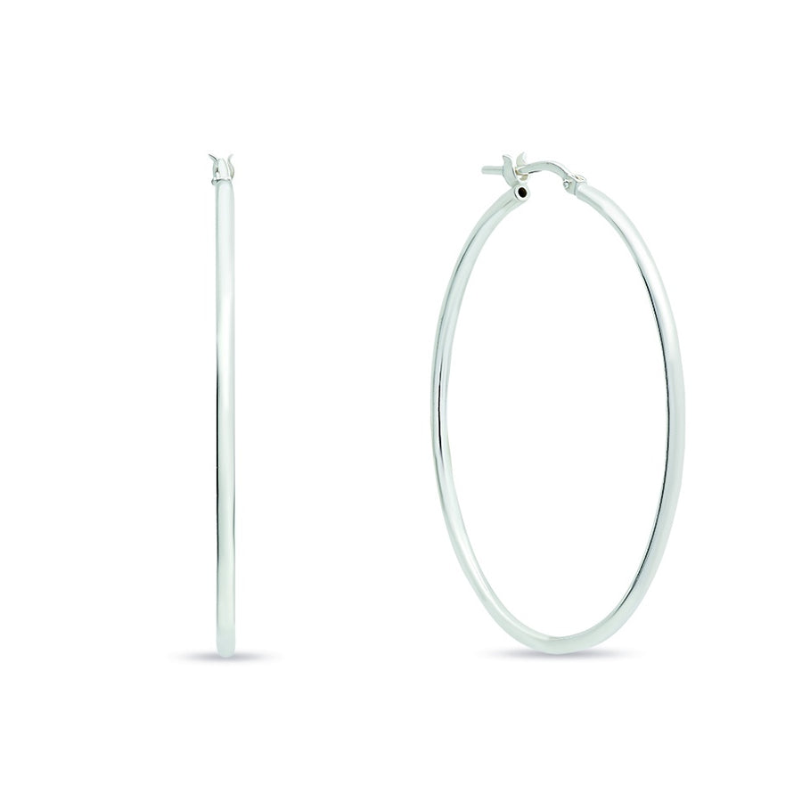 Sterling Silver Italian Plain Hoop Earrings