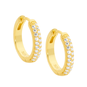 Sterling Silver Gold Plated White CZ Pave Set 16mm Hoop Earrings
