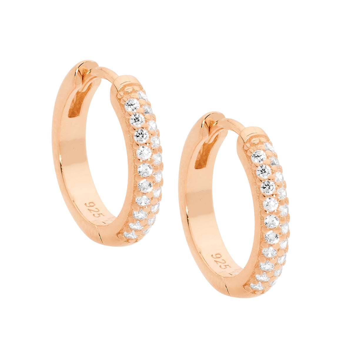 Sterling Silver Rose Gold Plated White CZ Pave Set 16mm Hoop Earrings