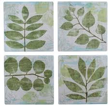 Green Leaves Coasters Asstd Set of 4