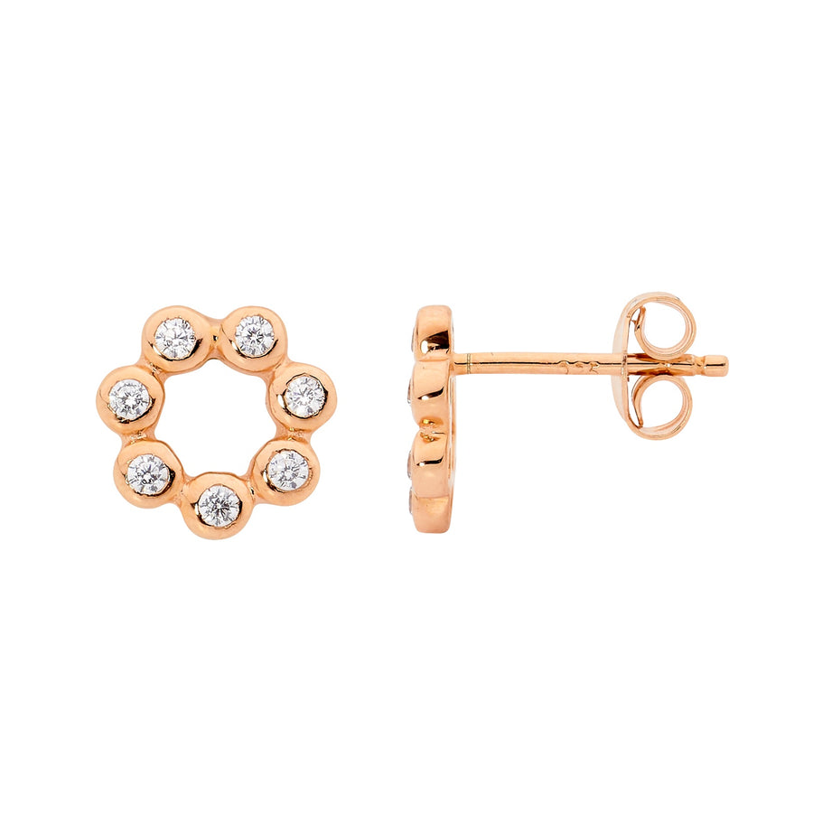 Sterling Silver Rose Gold Plated White CZ Bezel Set Open Stud Earrings