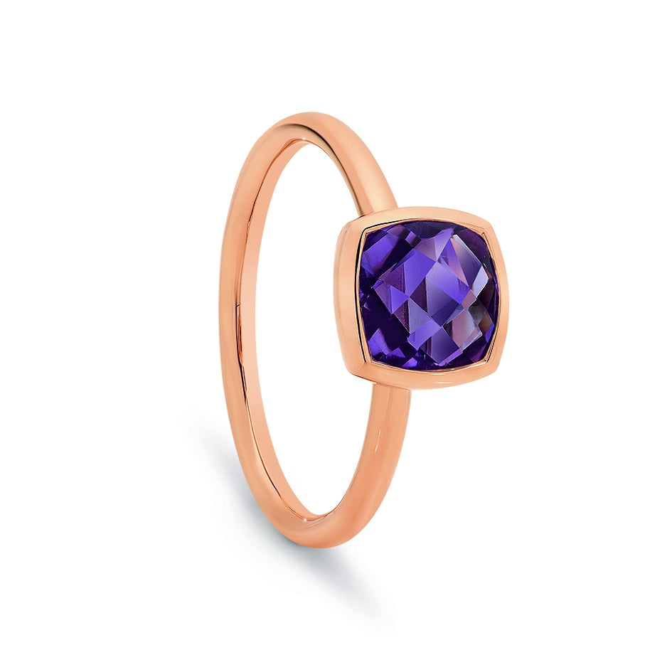 9ct Rose Gold Amethyst Dress Ring Double Cushion Check Cut 7mm x 7mm Bezel Set
