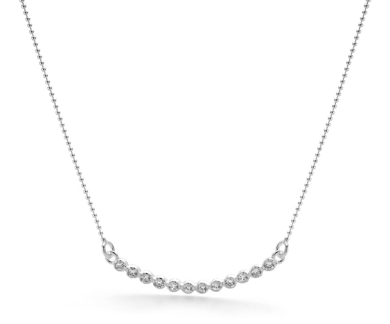 Sterling Silver White Cubic Zirconia Bar Necklet with chain