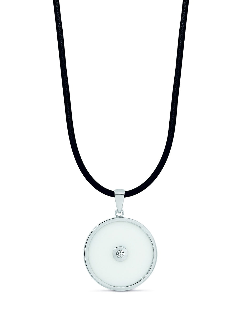 Sterling Silver 35mm Round White Agate & CZ Pendant on 45cm Neoprene Necklet