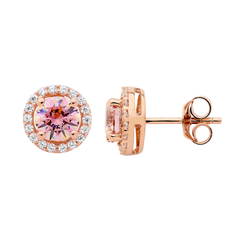 Sterling Silver Rose Gold Plated Morganite CZ with white CZ Halo Stud Earrings