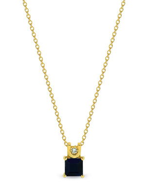 9ct Yellow Gold Princess Cut Sapphire & Diamond (15pt) Pendant  5mm Claw Set with 9ct YG 45cm Chain