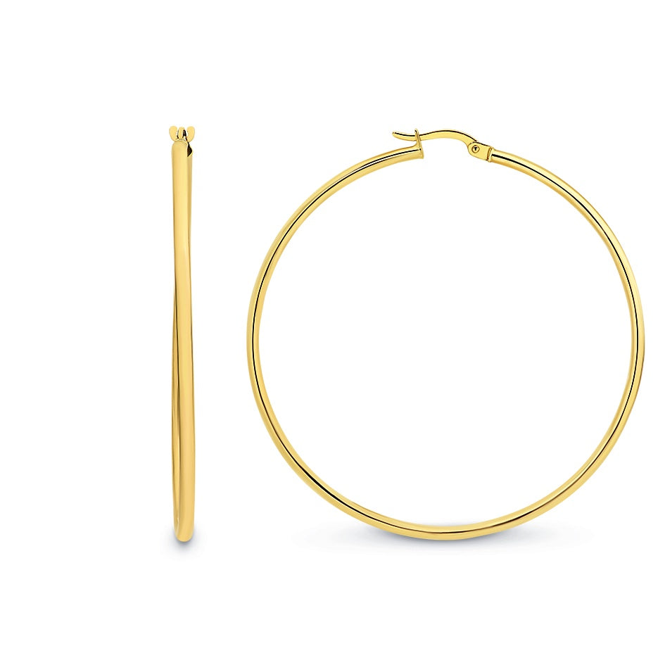 9ct Yellow Gold Hoop 2mm x 50mm Earrings
