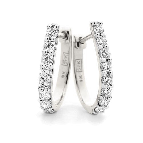 9ct White Gold Claw Set Diamond Huggies TDW 0.50ct