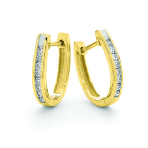 9ct Yellow Gold Channel Set Diamond Huggies TDW 0.21ct