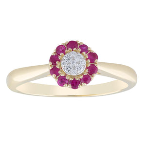 9ct Yellow Gold Ruby & Diamond Ring TDW 0.05ct