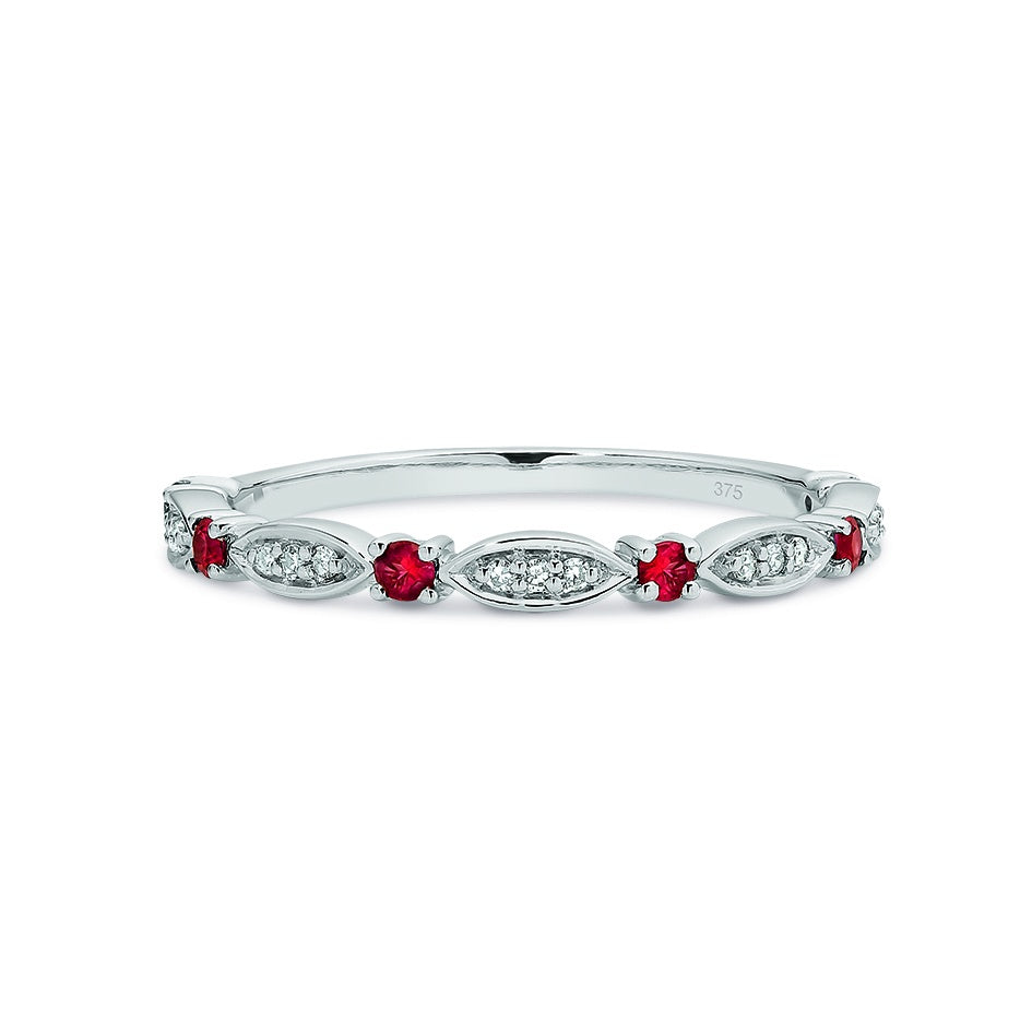 9ct White Gold Ruby & Diamond Stacker Ring Size O