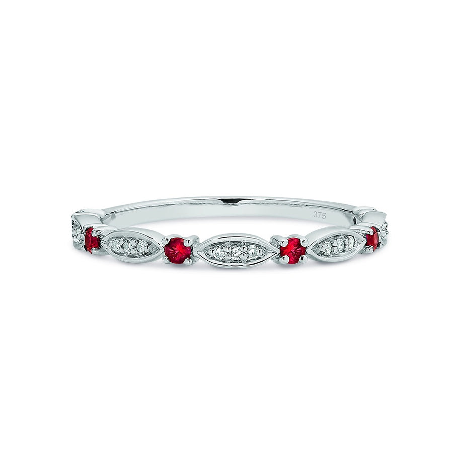 9ct White Gold Ruby & Diamond Stacker Ring Size N