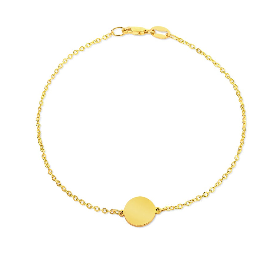 9ct Yellow Gold Disc Bracelet 19cm