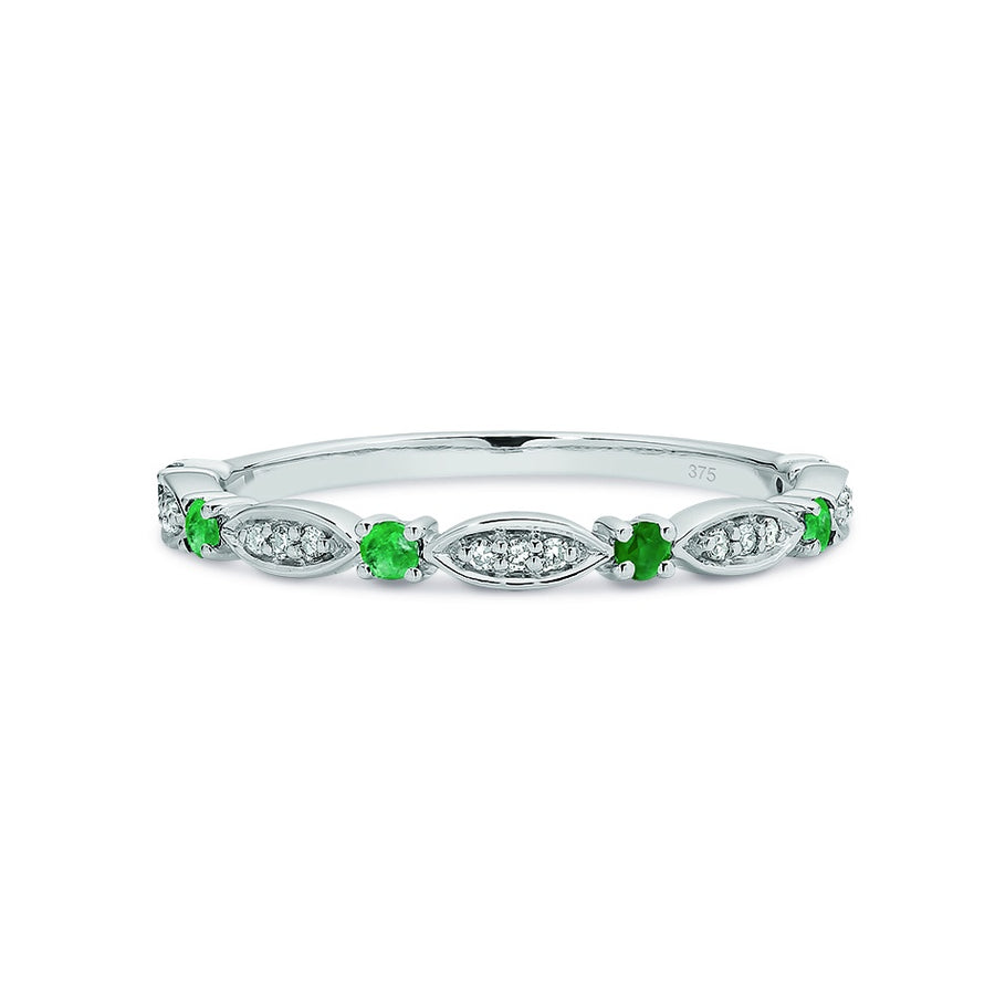 9ct White Gold Emerald & Diamond Stacker Ring Size N