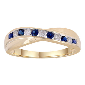 9ct Yellow Gold Sapphire and Diamond Ring TDW 0.12ct