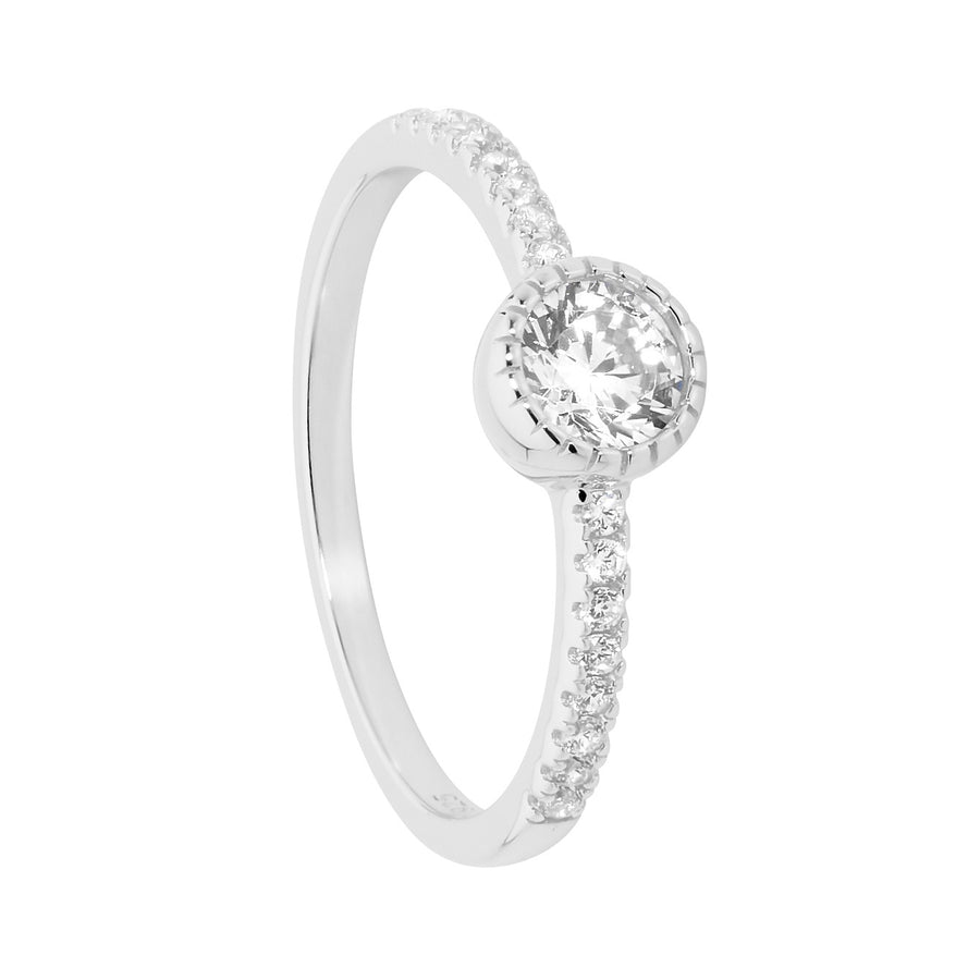Sterling Silver 5mm White CZ Crown Set Solitaire with CZ band Size Q