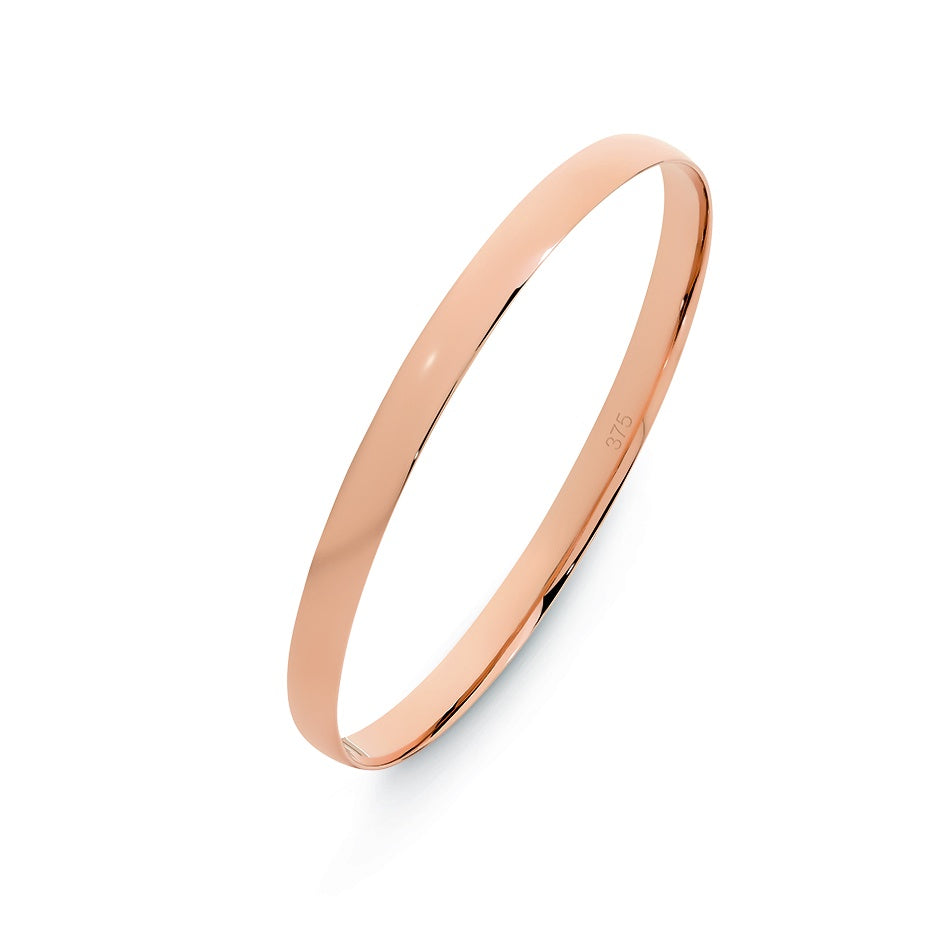 9ct Rose Gold 6mm Low Dome Half Round Bangle 65mm