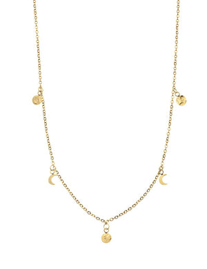 Tide Moon Necklace Yellow Gold 40cm