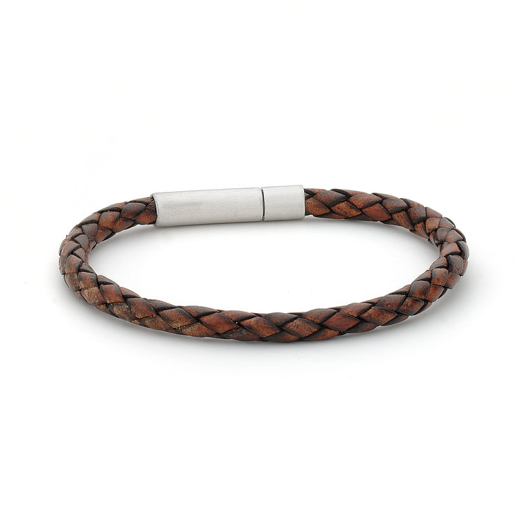 Mens Leather Braided Bangle