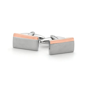 Stainless Steel Cuff Links with Rose Highlight