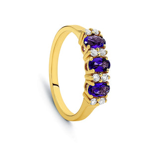 9ct Yellow Gold Amethyst & Diamond London Bridge Style Dress Ring TDW 16pts