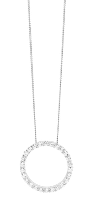Sterling Silver White CZ 15mm Circle Pendant & Chain