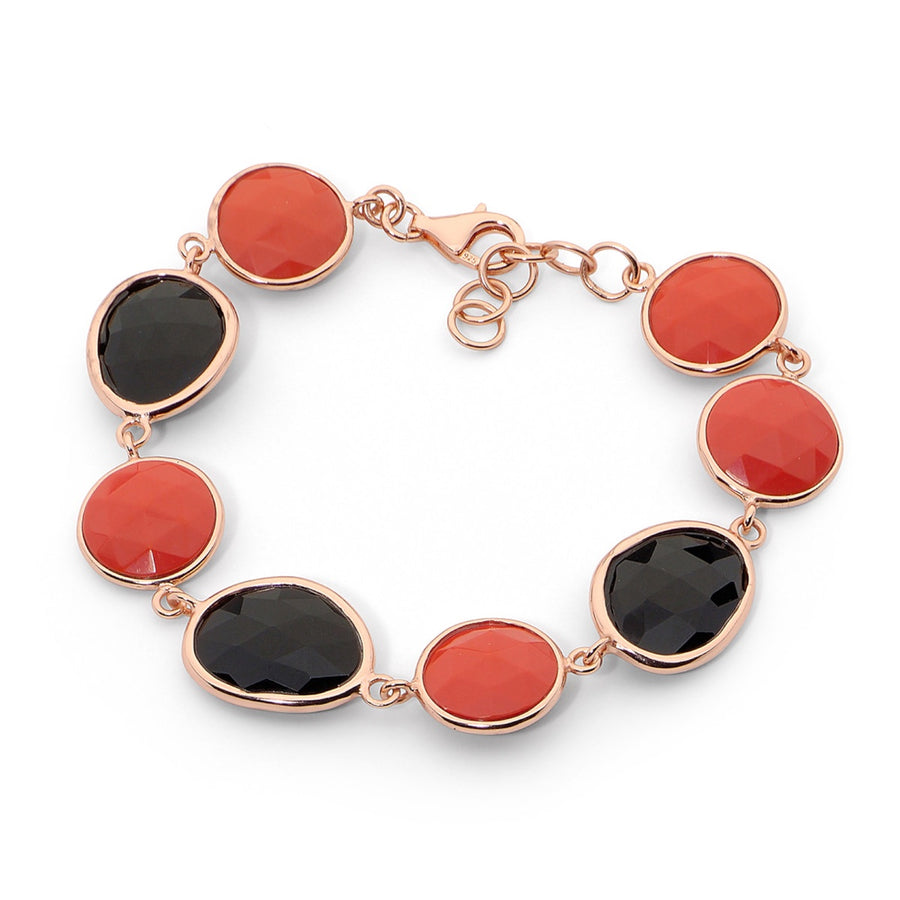 CORAL BRACELET BANGLE - 14k Rose Gold Plated Silver Bangle w/Black Onyx