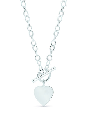 Sterling Silver Cable Link 45cm Necklet with Heart and T-Bar