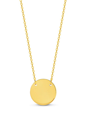 9ct Yellow Gold Engravable Disc on 45cm Chain