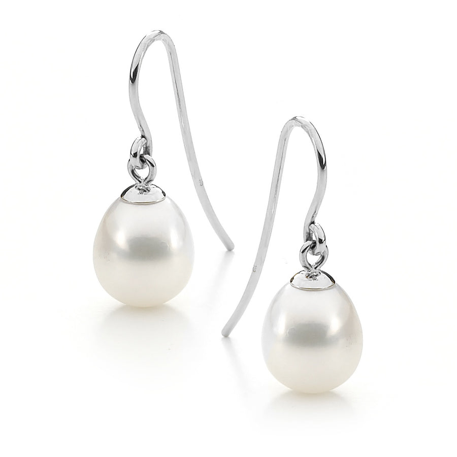 8mm White FWP Sterling Silver Drop Earrings