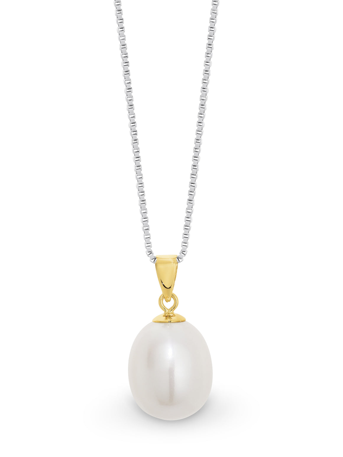 9ct Yellow Gold White 9-9.5mm Fresh Water Pearl Pendant