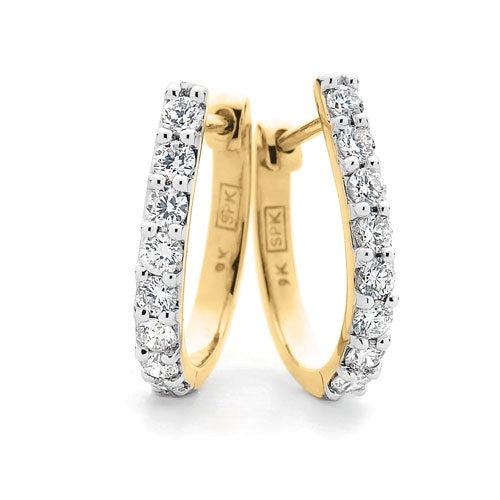 9ct Yellow Gold Claw Set Diamond Huggies TDW 0.50ct