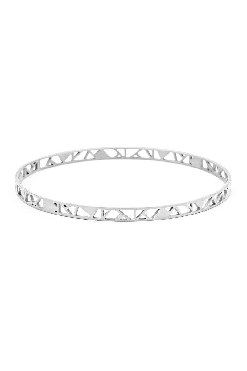 MAUI BANGLE - Stainless Steel Silver Plated